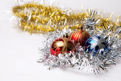 New year. 's toys and decorative Christmas-tree decorations Royalty Free Stock Photos