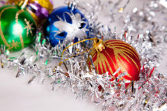 New year. 's toys and decorative Christmas-tree decorations Royalty Free Stock Image