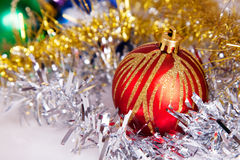 New year. 's toys and decorative Christmas-tree decorations royalty free stock images