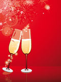 New year. Two glasses with wine on a christmas background Royalty Free Stock Photo