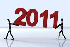 New year. A red new year 2011 arrive now Royalty Free Stock Photography