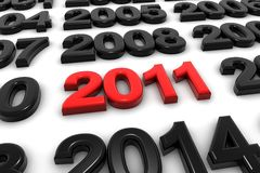 New year. A red new year 2011 arrive now Royalty Free Stock Image