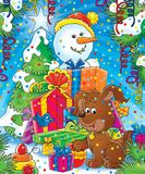 New Year 14. Illustration for children.  New Year. Christmas. Snowball and dog with gifts Royalty Free Stock Photos