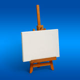 New Year. Little wood easel and white canvas (image has clipping path stock images