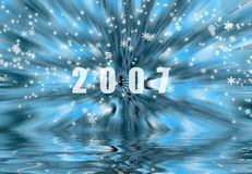 New Year. And Christmas snow flakes Royalty Free Stock Photography