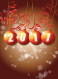 New Year. A New Year themed image on a portrait format with 2011 set in a set of orange baubles with paper style decorations stock illustration