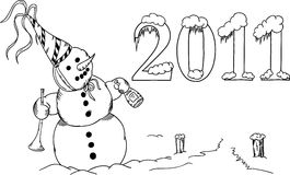 New Year. Vector - Snowman with trumpet celebrates New Year stock illustration