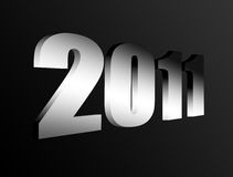 New year. 2011 chrome number on black background, 3d image vector illustration