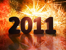 New year. With fireworks in the background Royalty Free Stock Photography