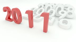 New year. 3D render depicting new year 2011 transition Royalty Free Stock Images