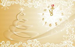 New year. Christmas gold background with an abstract Christmas tree and clock Royalty Free Stock Photography
