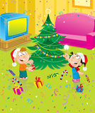 New Year. The children decorate the Christmas tree Stock Photo