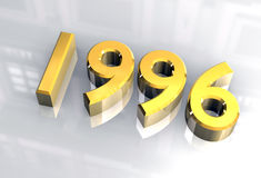 New year 1996 in gold (3D) Stock Photo