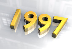 New year 1997 in gold (3D) Royalty Free Stock Photo