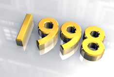 New year 1998 in gold (3D) Royalty Free Stock Images