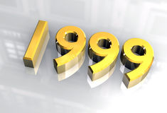 New year 1999 in gold (3D) Royalty Free Stock Image