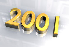 New year 2001 in gold (3D). New year 2001 in gold (3D made Stock Images