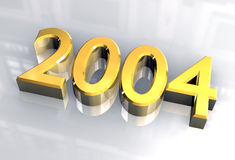 New year 2004 in gold (3D) Stock Image