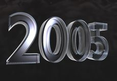 New year 2005 in glass (3D) Stock Photos