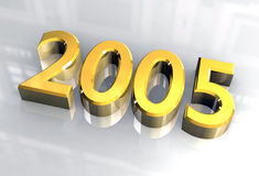 New year 2005 in gold (3D) Stock Photos