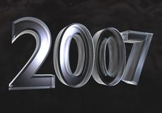 New year 2007 in glass (3D). New year 2007 in glass (3D made Royalty Free Stock Image