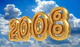 New Year 2008. Gold New Year 2008 symbol. 3D illustration on sky background vector illustration