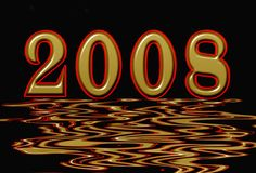 New Year 2008. Illustration rippling on the water Royalty Free Stock Photography