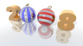 New Year 2008. A 3d render of 2008 with striped Christmas ornaments Royalty Free Stock Images