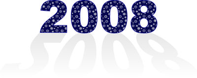 New year 2008. Superscription 2008 with magic snowflakes - my own swatch Royalty Free Stock Images
