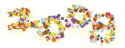 NEW YEAR 2008. Burst of colorful bubbles forming number 2008 - concept illustration for celebration, new year etc Stock Illustration