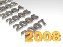 New Year. 2008. 3d. Very beautiful three-dimensional illustration, figure Royalty Free Stock Photography