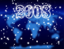 New Year 2008, cosmic. Background and blurred world map Stock Photos