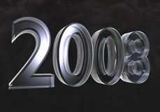 New year 2008 in glass (3D) Stock Images