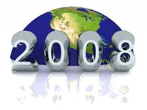 New Year 2008 Global. A New Year 2008 World Globe Background. For annual proposals and business slide backgrounds Stock Image