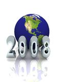 New Year 2008 Global Vertical. A New Year 2008 World Globe Background. For annual business proposals Stock Photo