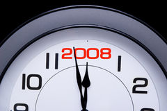 New Year 2008 is here. Clock with 2008 date on it stock images