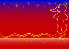 New year 2008 rat. The yellow rat and stars over blue and red gradient background. Available in AI format Stock Illustration