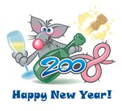 New year 2008 rat, cartoon personage. Nice rat with champagne, for new year Stock Illustration