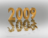 New Year 2009 3D Gold Numbers. 3D Illustration of gold numbers reflected in water for New Year 2009 royalty free illustration
