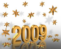 New Year 2009 3D graphic Gold Stars. Golden 3D numbers 2009 Illustration for New Years Eve invitation, background or calender Royalty Free Stock Photos