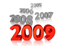 New year 2009. With old past year Stock Photography