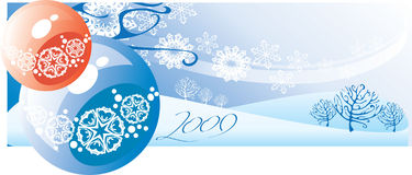 New year 2009. Blue background with and winter landscape vector illustration