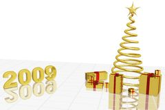 New year 2009. Xmas tree with gifts and date 2009. Happy New Year Royalty Free Stock Photos