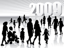 New year 2009. People are going to the New Year 2009 Stock Photos