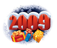 New Year 2009. And Christmas gifts on a winter night background royalty free illustration