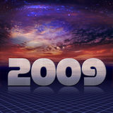 New year 2009. The 2009 New Year in carbon-chrome look in cosmic background royalty free illustration