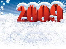 New Year 2009. On a white snow background Stock Illustration
