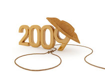 New year 2009. The number of 2009 with cowboy hat and lasso royalty free illustration