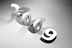 New year 2009. Black and white picture Stock Photography