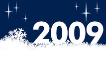 New Year 2009. And a white snow background Stock Images
